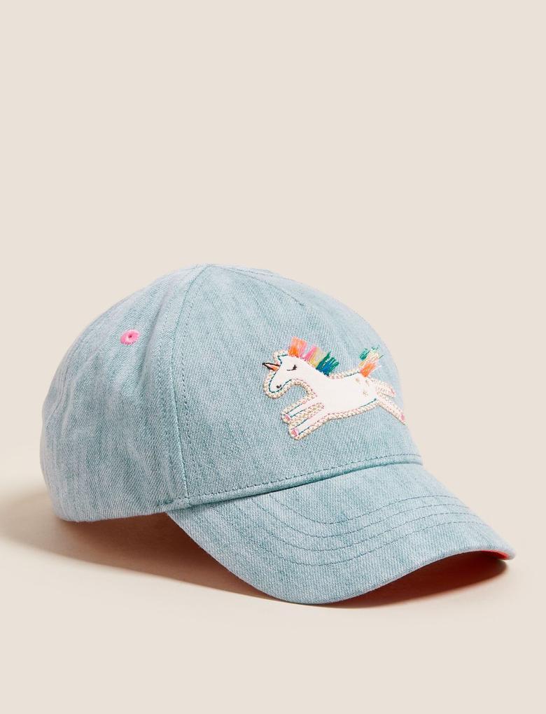 Mavi Unicorn Baskılı Şapka