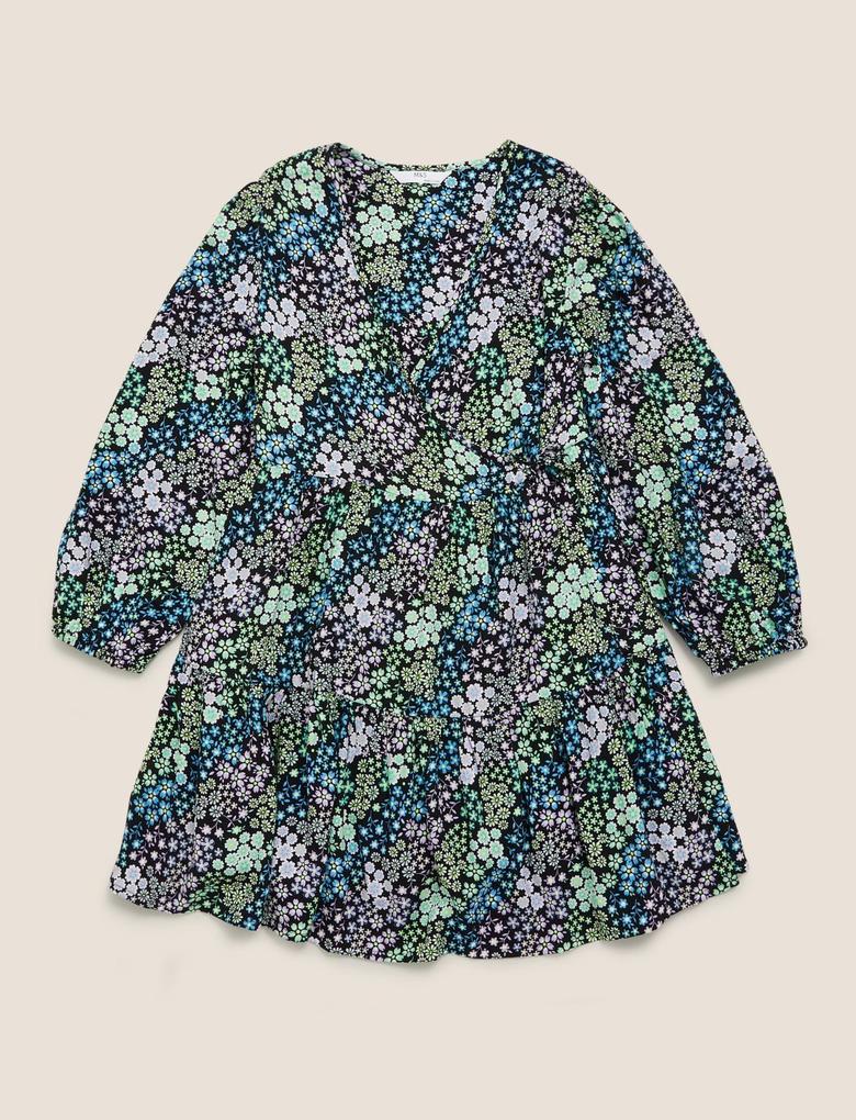 Kız Çocuk Multi Renk Çiçek Desenli Elbise