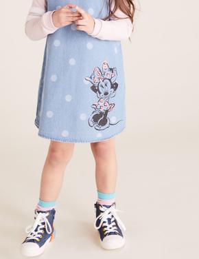 Kız Çocuk Mavi Disney Minnie Mouse™ Desenli Elbise