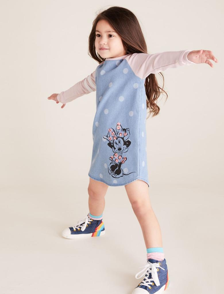 Kız Çocuk Mavi Disney Minnie Mouse? Desenli Elbise
