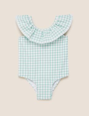 Bebek Mavi Fırfır Detaylı Mayo