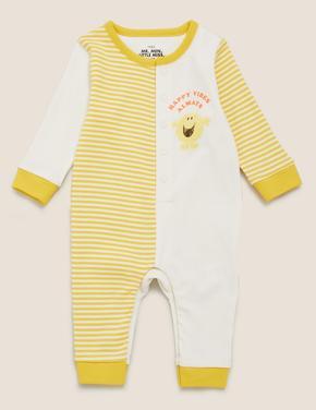 Bebek Sarı Mr. Men™ Baskılı Çizgili Tulum