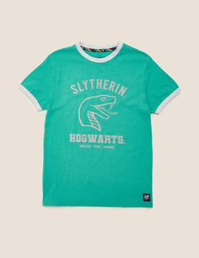 Erkek Çocuk Yeşil Unisex Slogan Baskılı T-Shirt