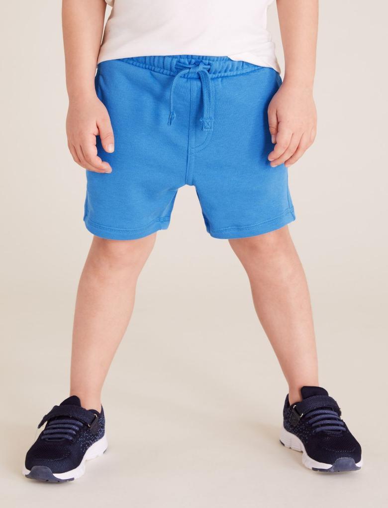 Erkek Çocuk Mavi Pamuklu Şort