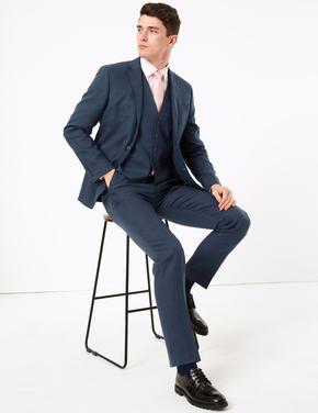Erkek Lacivert Tailor Fit Miracle™ Keten Ceket