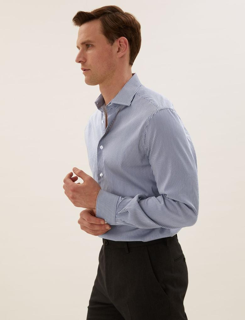 Erkek Lacivert Tailor Fit Çizgili Gömlek