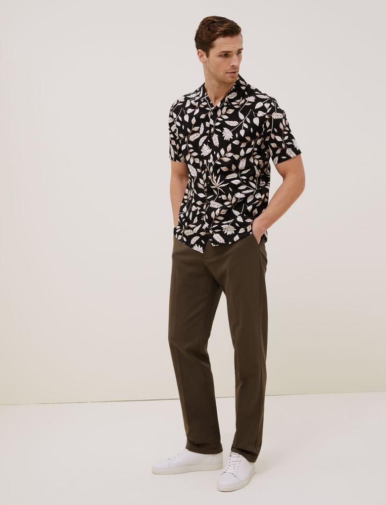 Erkek Siyah Çiçek Desenli Gömlek