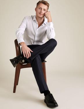 Erkek Beyaz Tailored Fit Kareli Gömlek