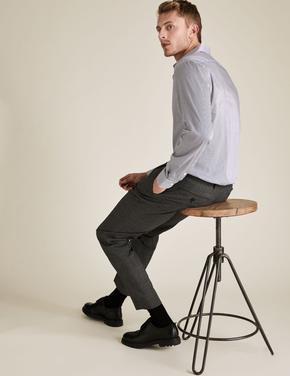 Erkek Lacivert Tailored Fit Çizgili Gömlek