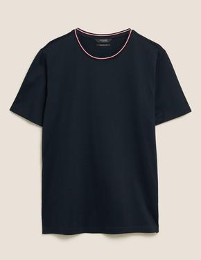 Lacivert Pamuklu T-Shirt