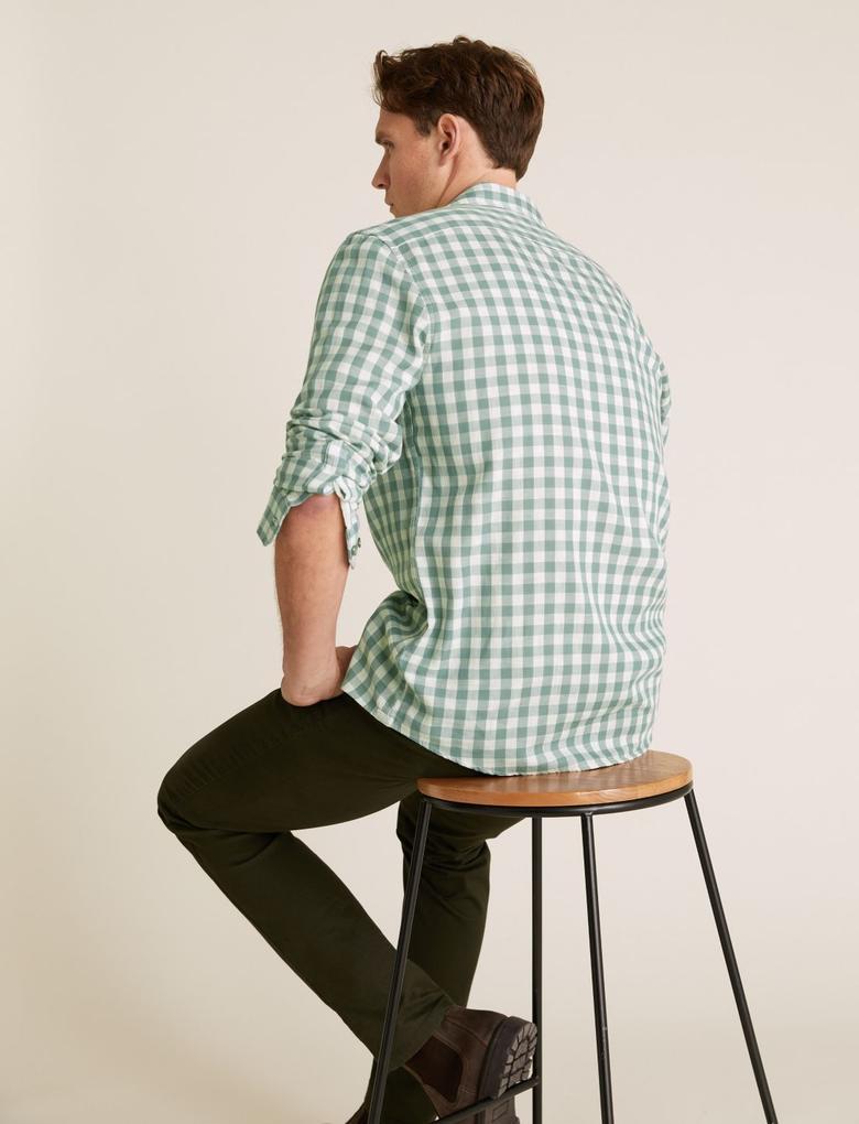 Erkek Yeşil Pamuklu Kareli Gömlek