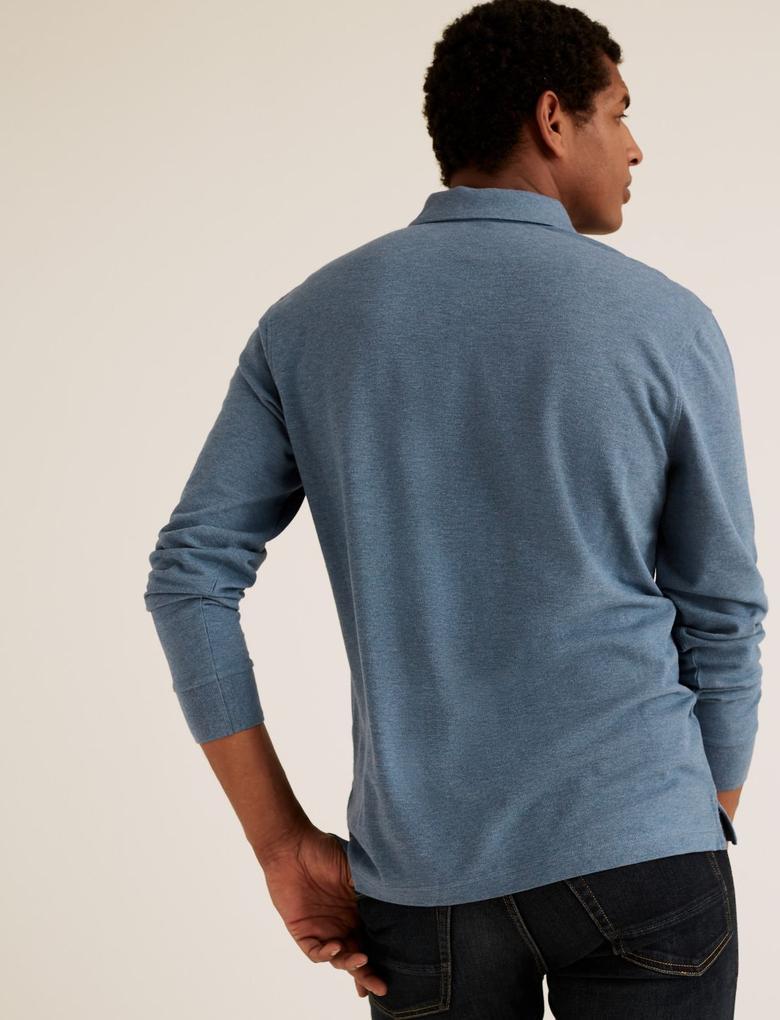 Erkek Mavi Pamuklu Polo Yaka T-Shirt