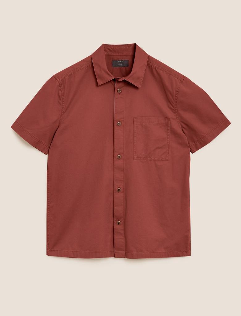 Erkek Kahverengi Pamuklu Gömlek
