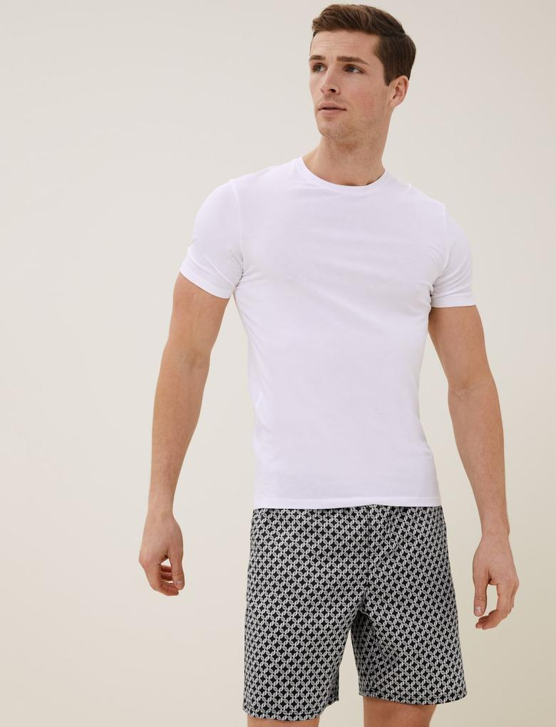 Erkek Siyah Pamuklu Tencel™ Pijama Şort