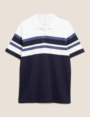 Erkek Mavi Çizgili Polo Yaka T-Shirt