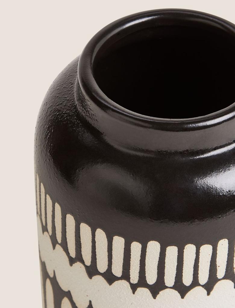 Ev Siyah Geometrik Desenli Vazo