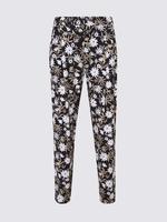 Kadın Siyah Çiçek Detaylı Tapered Leg Pantolon