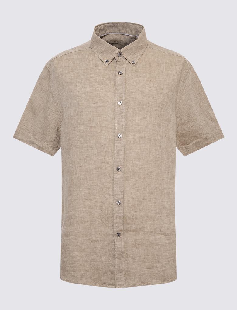 Erkek Kahverengi Kısa Kollu Keten Gömlek