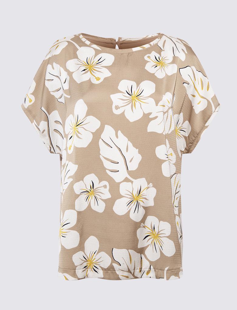 Kadın Bej Çiçek Desenli Kısa Kollu T-Shirt