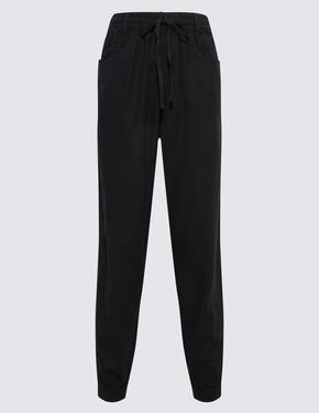 Kadın Siyah Keten Pantolon