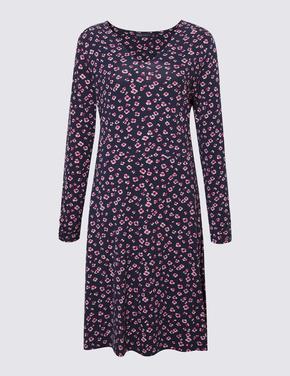 Kadın Lacivert Çiçek Desenli V Yaka Elbise