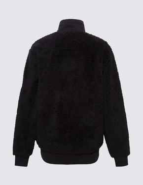 Kadın Siyah Yarım Fermuarlı Polar Sweatshirt