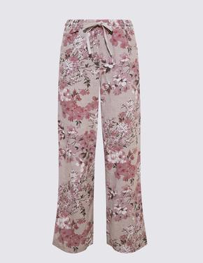 Kadın Bej Keten Karışımlı Desenli Geniş Paça Pantolon