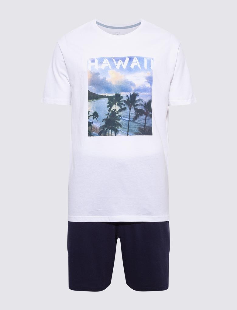 Erkek Multi Renk Hawaii Desenli Şortlu Pijama Takımı