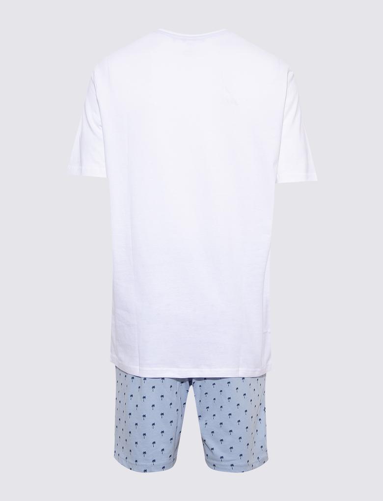 Erkek Multi Renk Surf Baskılı Şortlu Pijama Takımı
