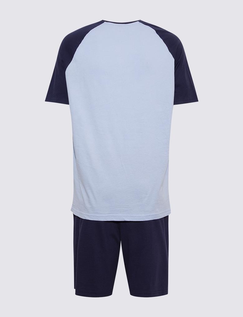 Erkek Lacivert Reglan Kollu Şortlu Pijama Takımı