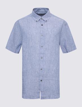 Erkek Mavi Kısa Kollu Keten Gömlek