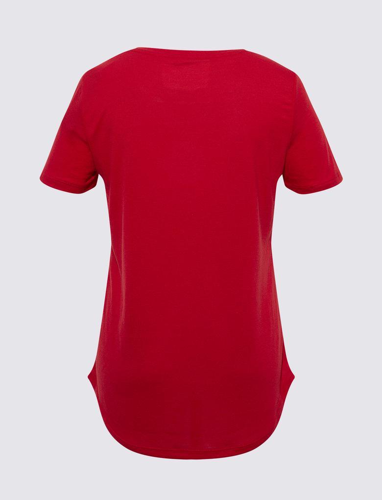 Kadın Kırmızı Relaxed V Yaka T-Shirt