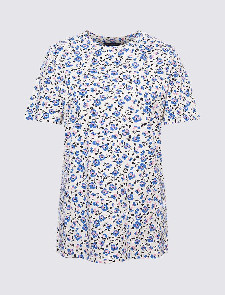 Kadın Mavi Kısa Kollu Çiçek Desenli T-Shirt