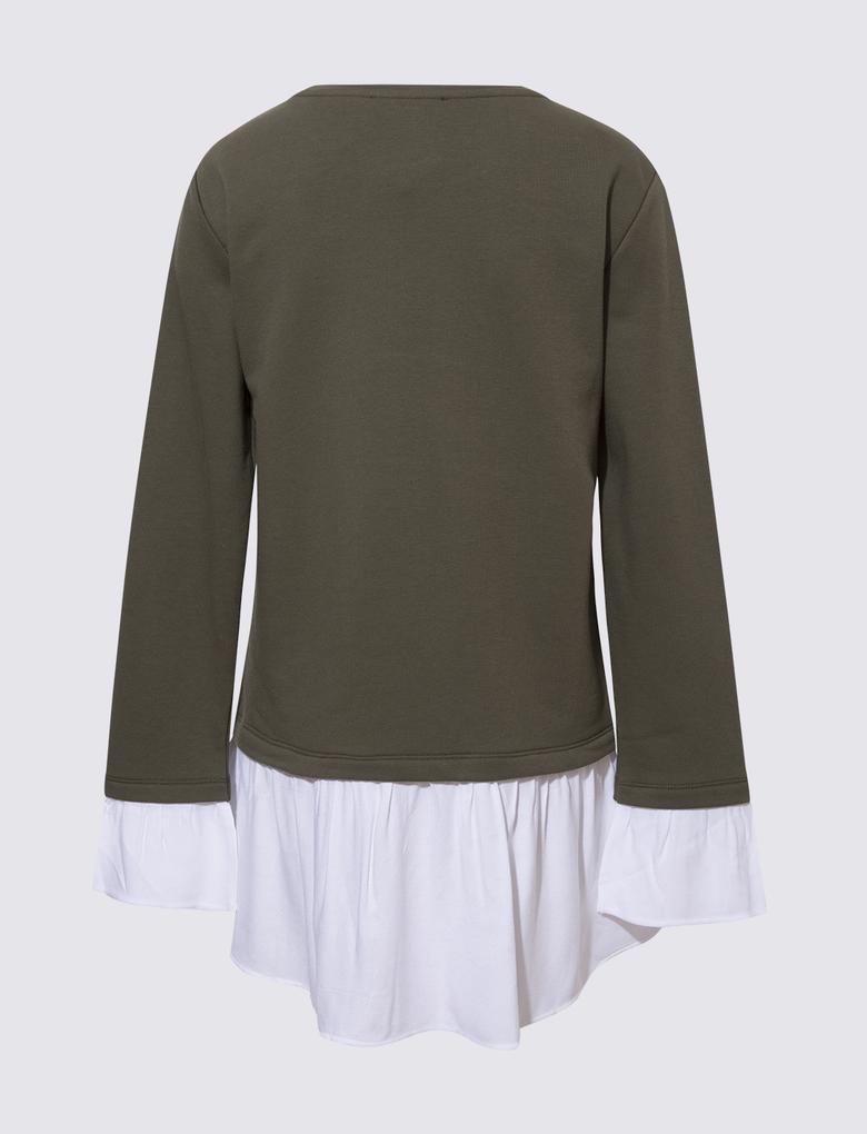 Kadın Yeşil Çift Katlı Görünümlü Sweatshirt