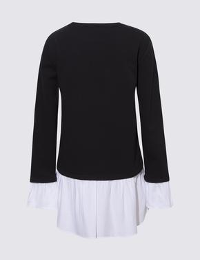 Kadın Siyah Çift Katlı Görünümlü Sweatshirt