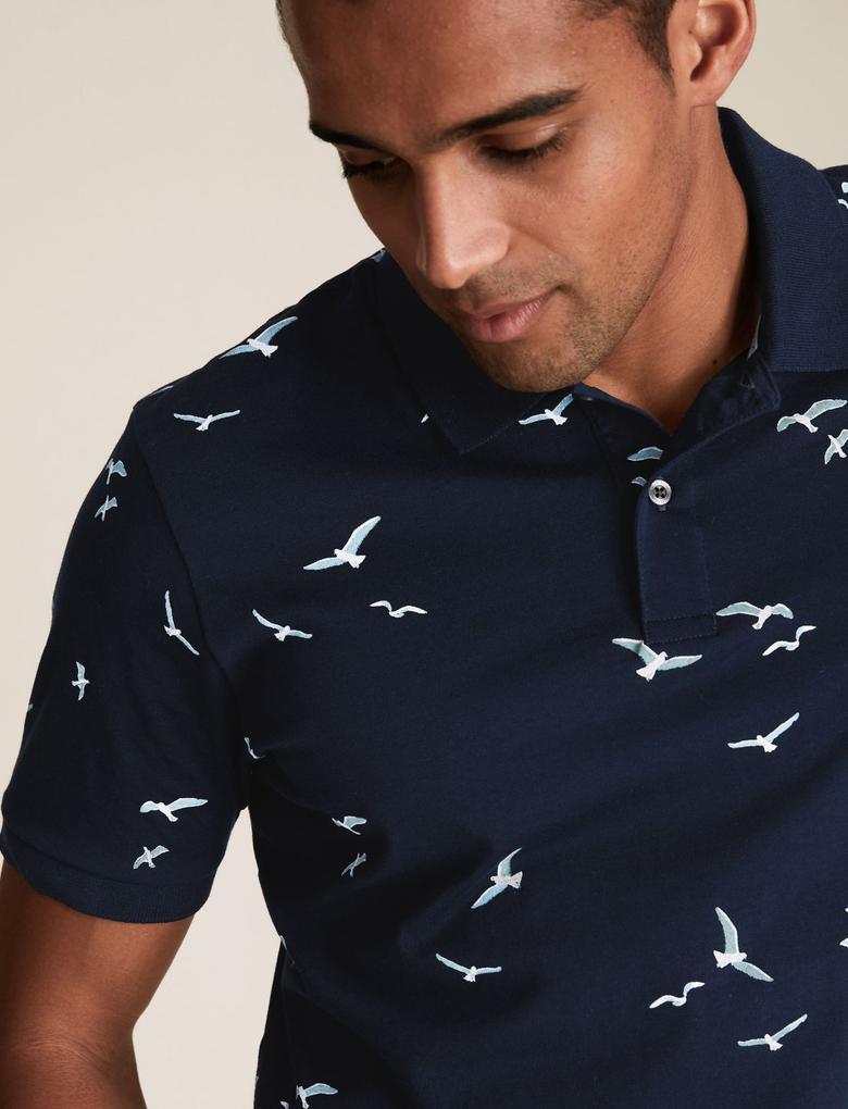 Lacivert Saf Pamuklu Martı Baskılı Polo Tişört