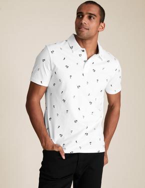 Beyaz Saf Pamuklu Hawaii Baskılı Polo Tişört