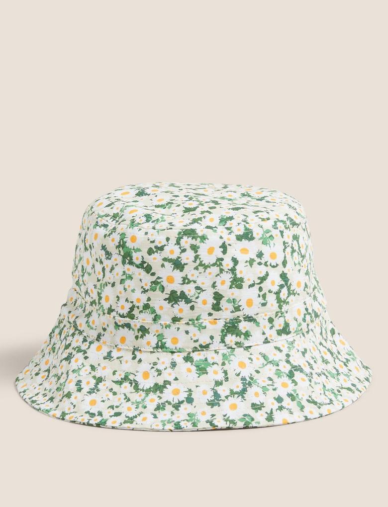 Kadın Sarı Pamuklu Papatya Desenli Kadın Şapka