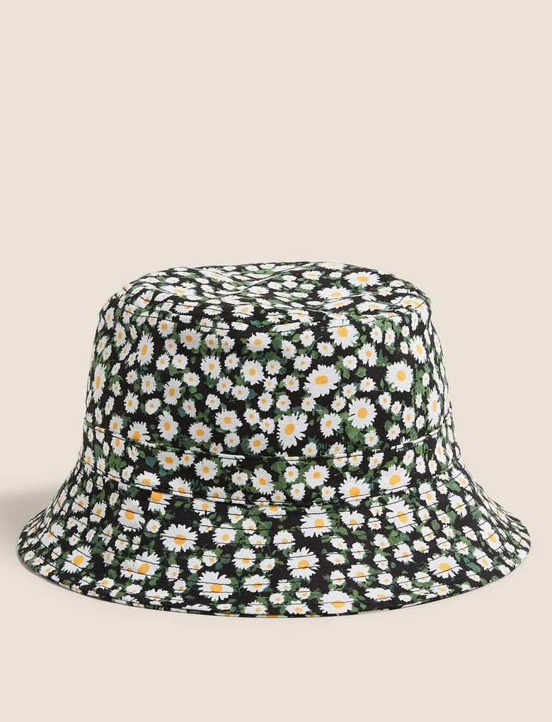 Kadın Siyah Pamuklu Papatya Desenli Kadın Şapka