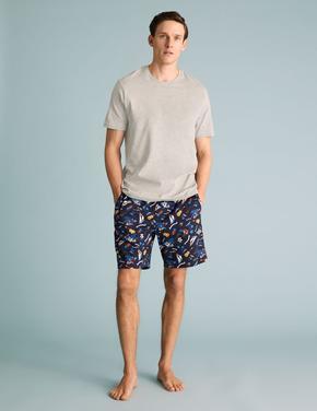 Erkek Lacivert Saf Pamuklu Hawaiian Desenli Pijama Takımı