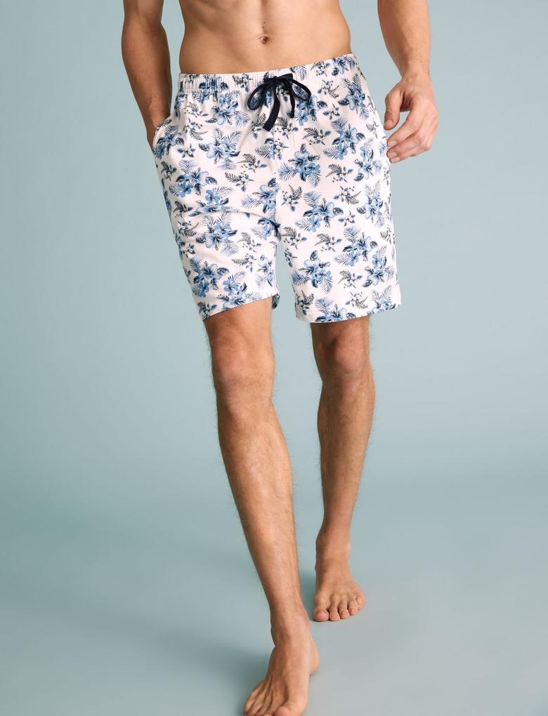 Erkek Mavi Saf Pamuklu Hibiscus Desenli Pijama Takımı