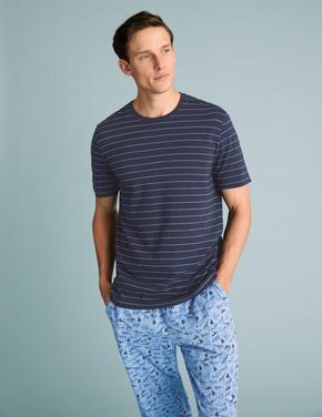 Erkek Mavi Saf Pamuklu Hayvan Desenli Pijama Takımı