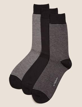 Erkek Siyah 3'lü Modal Çizgili Çorap