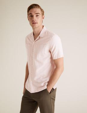 Erkek Pembe Kolay Ütülebilir Keten Gömlek