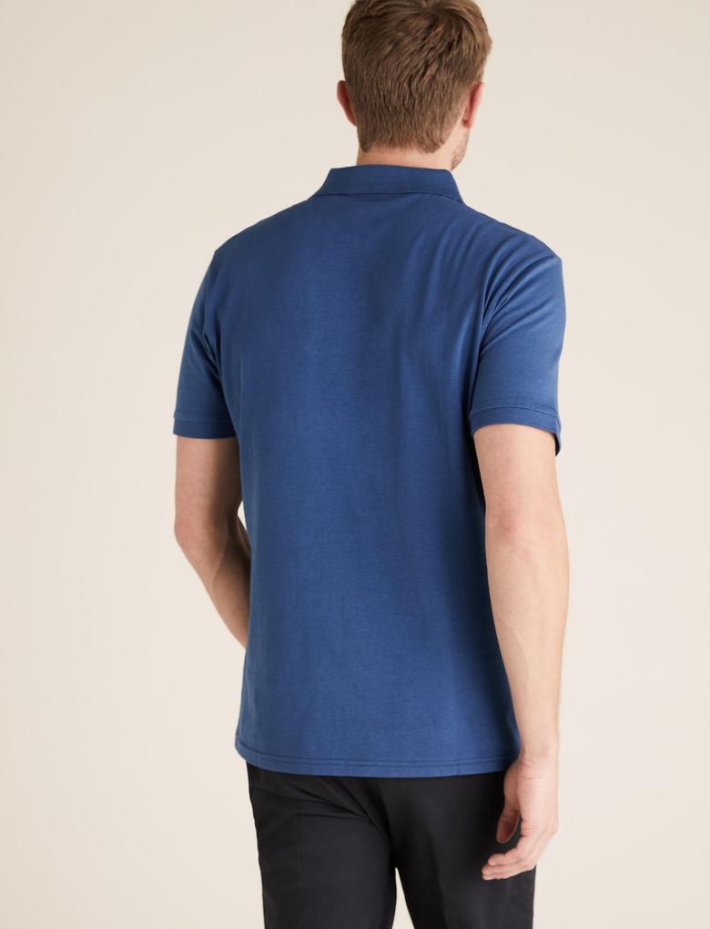Erkek Lacivert Saf Pamuklu Çizgili Polo T-Shirt