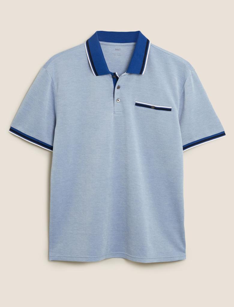 Erkek Lacivert Polo Yaka Pamuklu T-Shirt