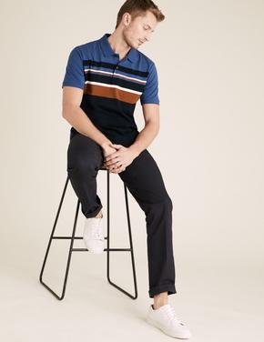 Lacivert Saf Pamuklu Çizgili Polo Tişört
