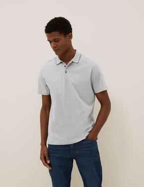 Gri Premium Pamuklu Polo Tişört