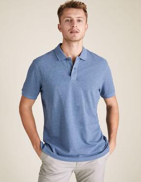 Mavi Saf Pamuklu Polo Tişört
