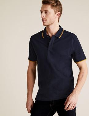 Lacivert Saf Pamuklu Polo Tişört
